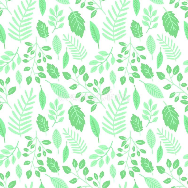 Modello senza cuciture di Pasqua delle foglie verdi su un fondo trasparente Illustrazione disegnata a mano di vettore delle piant royalty illustrazione gratis