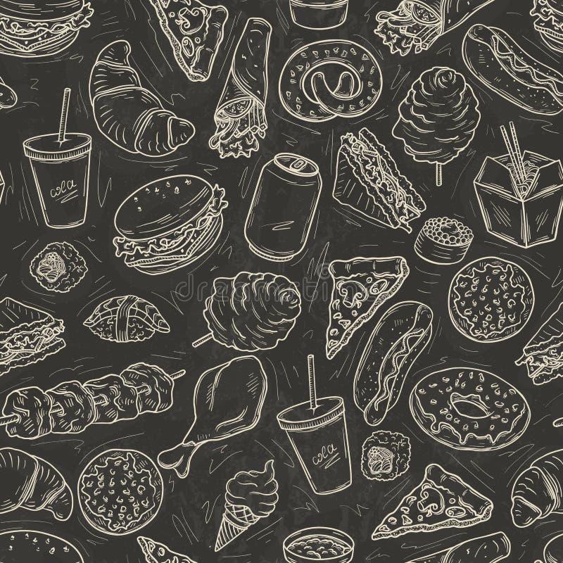 Modello senza cuciture di pasto rapido illustrazione vettoriale