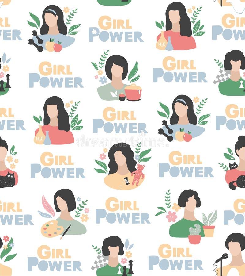 Modello senza cuciture di potere della ragazza nei colori dell'acquerello con i ritratti e gli oggetti femminili di hobby illustrazione di stock