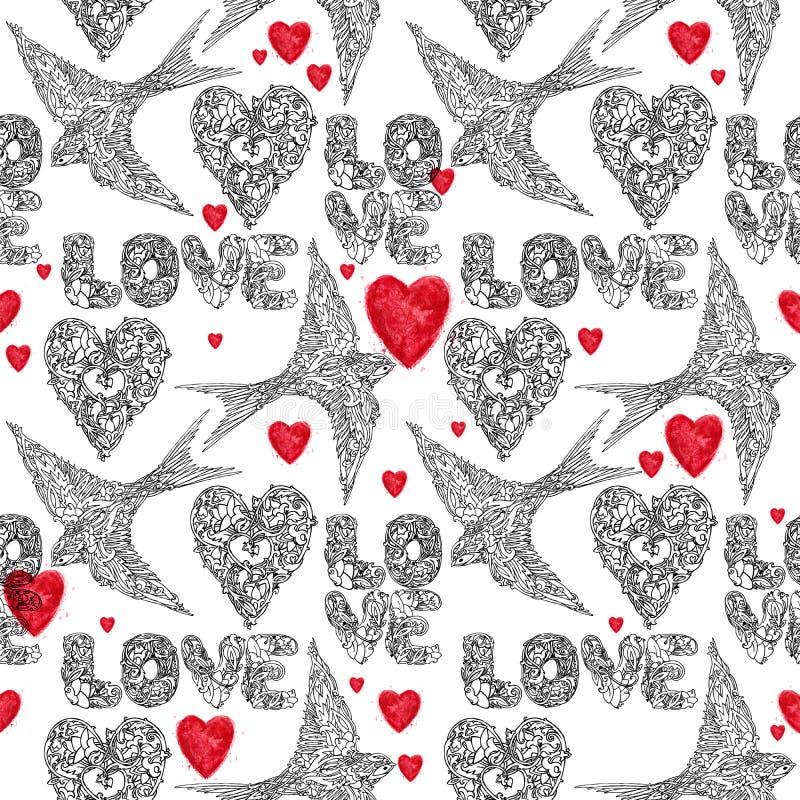 Modello senza cuciture di progettazione del pizzo del tatuaggio Illustrazione disegnata a mano dell'inchiostro del cuore e di amo royalty illustrazione gratis