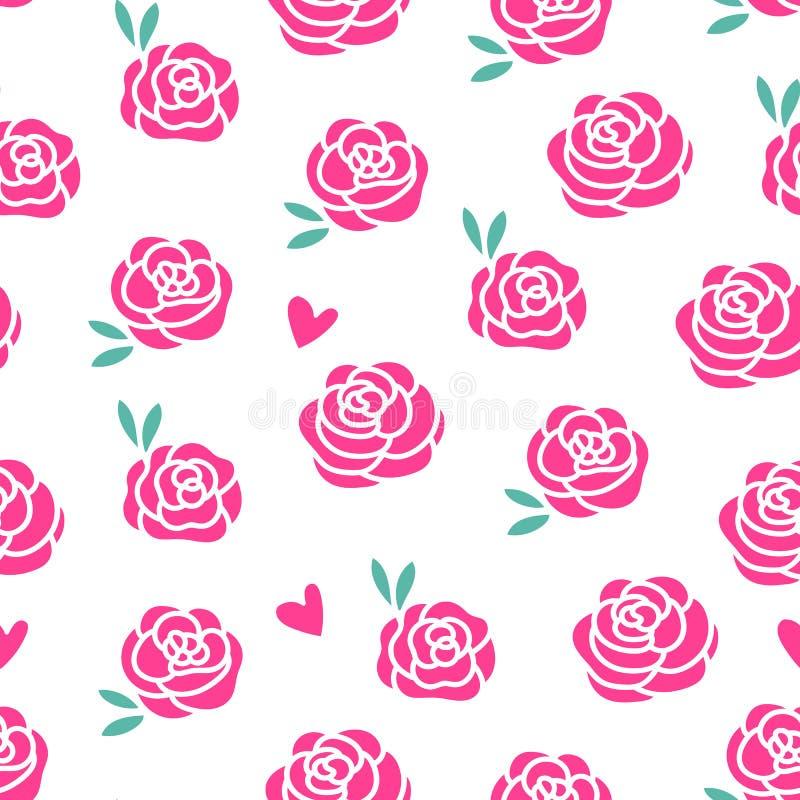 Modello senza cuciture di progettazione moderna delle rose di vettore Fiori rosa con le foglie frondose isolate su fondo bianco royalty illustrazione gratis