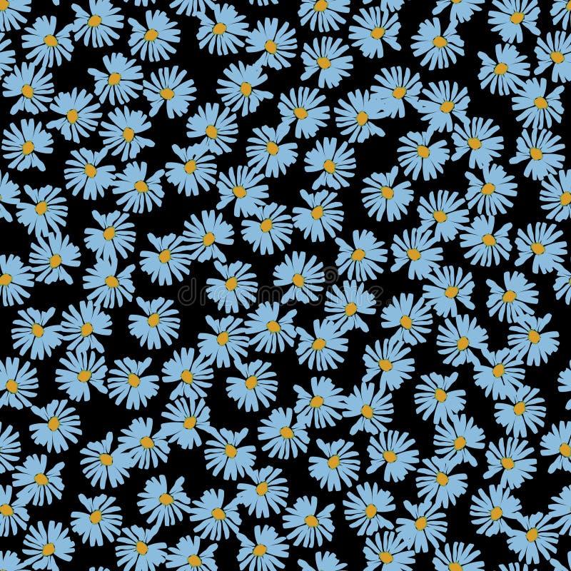 Modello senza cuciture di ripetizione floreale graziosa della margherita in blu illustrazione di stock