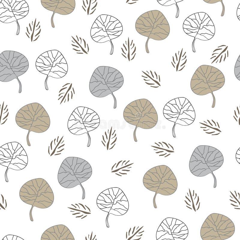 Modello senza cuciture di ripetizione di spirito della Raccolta-natura delle foglie illustrazione di stock