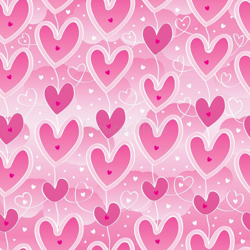 Modello senza cuciture di rosa del cielo di caduta di amore illustrazione vettoriale