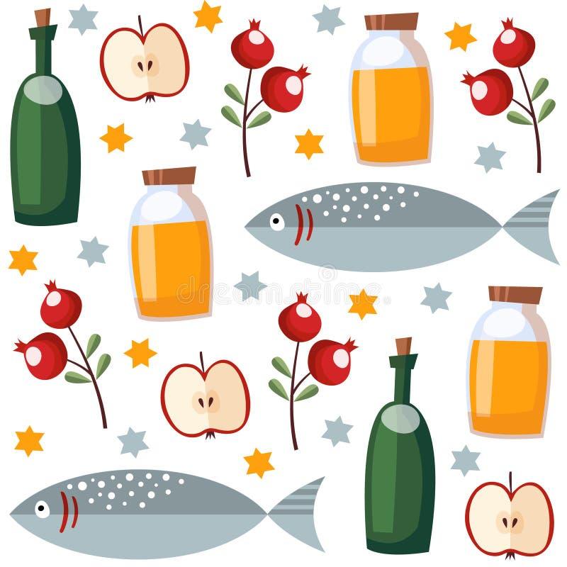 Modello senza cuciture di Rosh Hashana con miele, pesce, frutta, illustrazione di stock