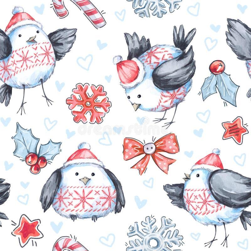 Modello senza cuciture di saluto dell'acquerello con gli uccelli di volo svegli Nuovo anno Illustrazione di celebrazione Buon Nat illustrazione vettoriale