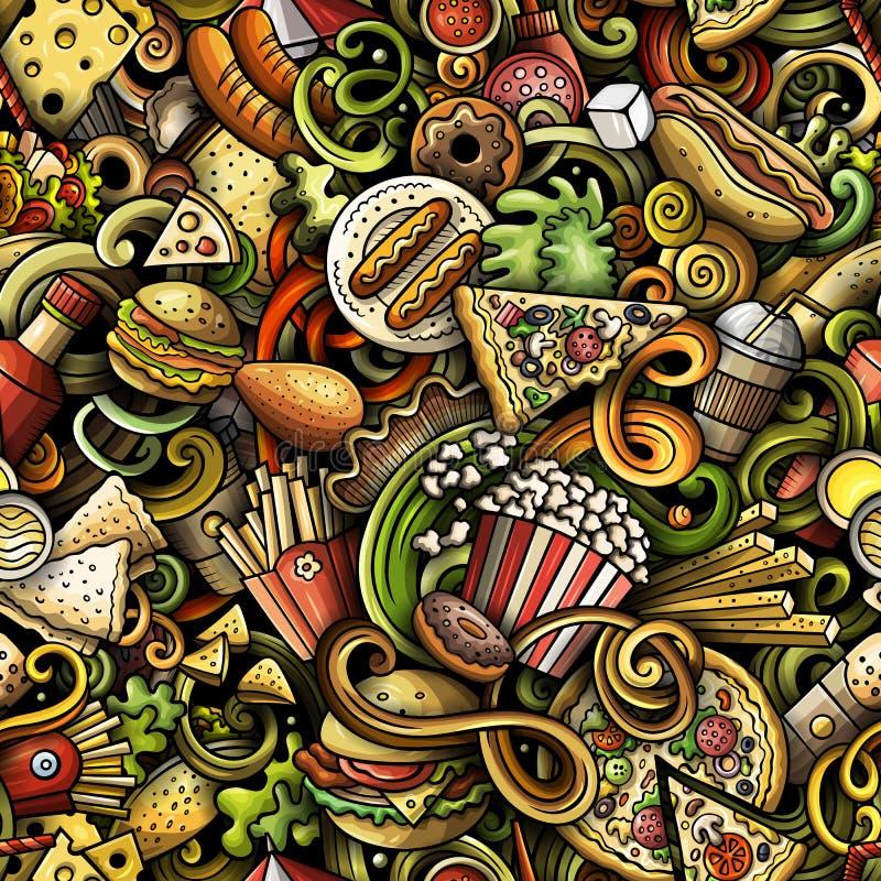 Modello senza cuciture di scarabocchi disegnati a mano di pasto rapido Fondo degli alimenti a rapida preparazione illustrazione vettoriale