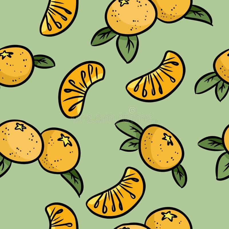 Modello senza cuciture di scarabocchi variopinti del mandarino Mandarini arancioni royalty illustrazione gratis