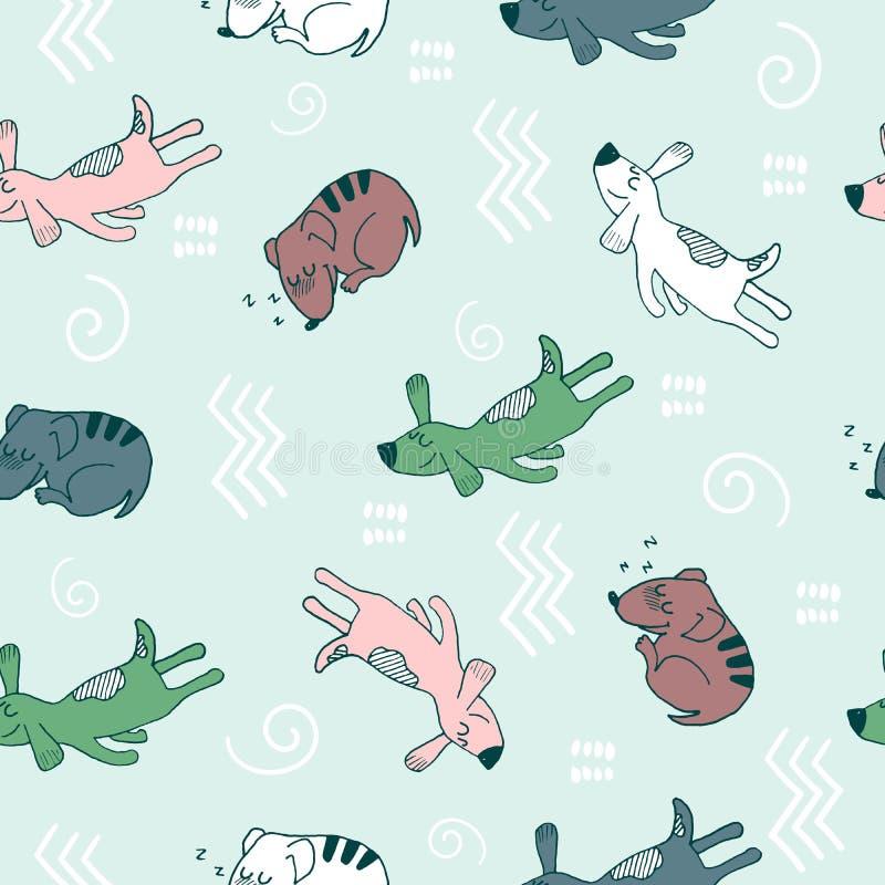 Modello senza cuciture di scarabocchio della mano con i cani divertenti di sonno e gli elementi astratti Tessuto di vettore, avvo illustrazione di stock