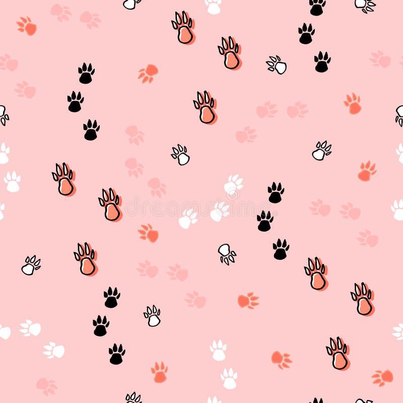 Modello senza cuciture di scarabocchio della mano con la zampa del cane Tessuto di vettore, avvolgentesi, carta da parati, fondo  illustrazione vettoriale