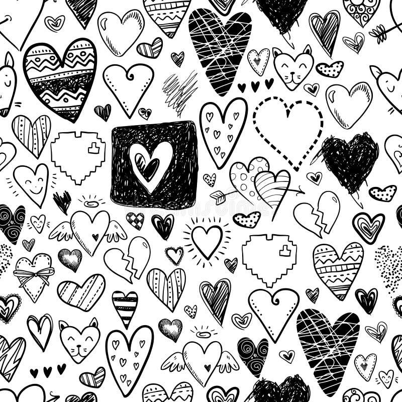 Modello senza cuciture di scarabocchio delle icone divertenti dei cuori Biglietto di S. Valentino disegnato a mano illustrazione di stock