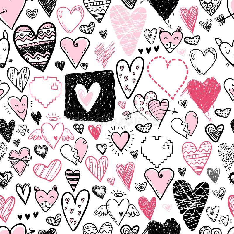 Modello senza cuciture di scarabocchio delle icone divertenti dei cuori Biglietto di S. Valentino disegnato a mano illustrazione vettoriale
