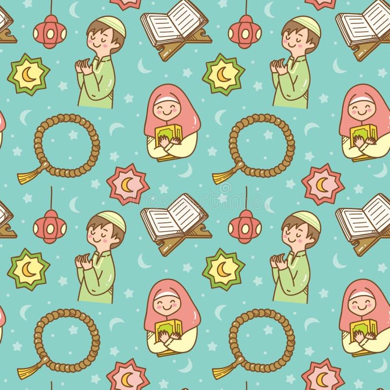 Modello senza cuciture di scarabocchio sveglio del Ramadan illustrazione di stock