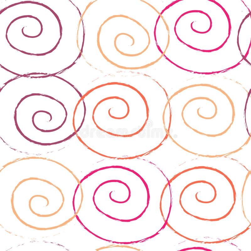 Modello senza cuciture di scricchiolio a spirale disegnato a mano di effetto della spazzola dell'inchiostro di colori illustrazione di stock