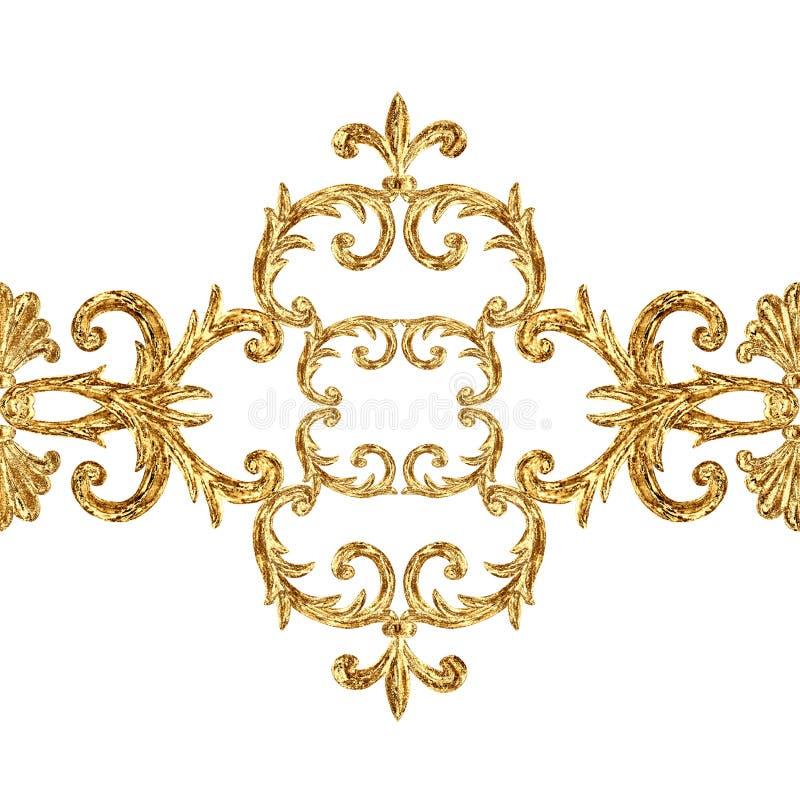 Modello senza cuciture di segmenti ornamentali dorati barrocco di stile Struttura disegnata a mano del confine dell'oro immagini stock libere da diritti