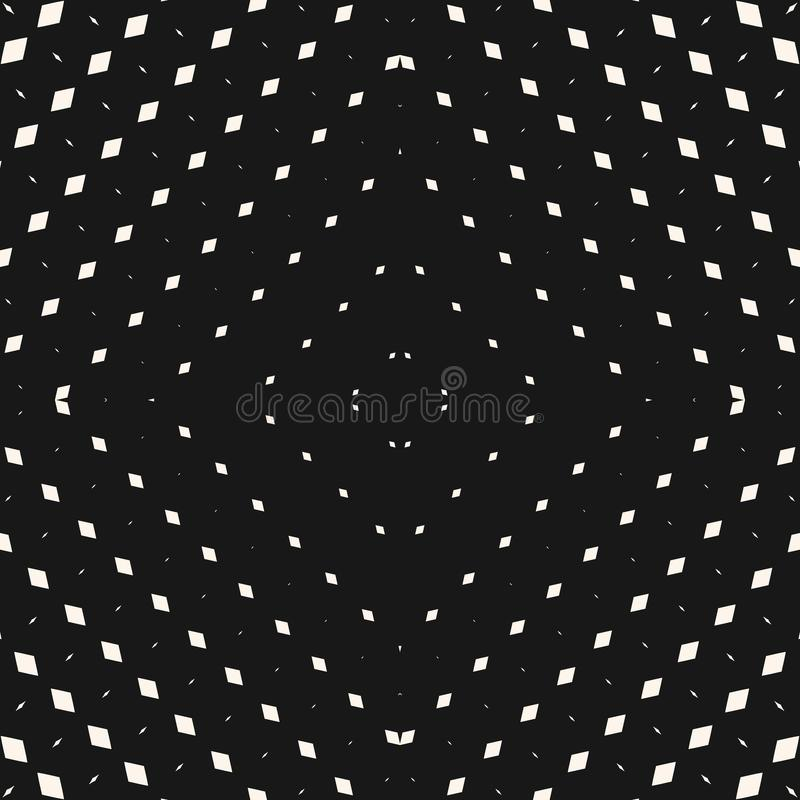 Modello senza cuciture di semitono radiale di vettore Priorità bassa geometrica in bianco e nero illustrazione vettoriale