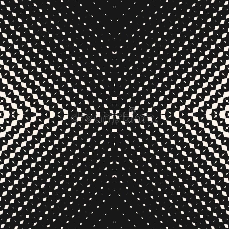 Modello senza cuciture di semitono radiale di vettore Priorit? bassa geometrica in bianco e nero illustrazione di stock