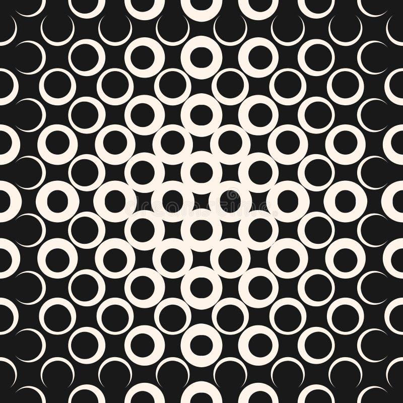 Modello senza cuciture di semitono di vettore con i cerchi, quadrati, punti Rebecca 36 illustrazione di stock
