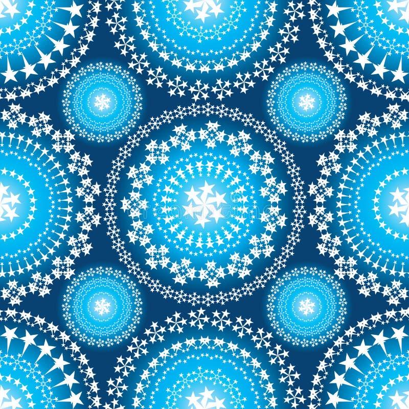 Modello senza cuciture di simmetria luminosa blu della mandala della stella illustrazione vettoriale