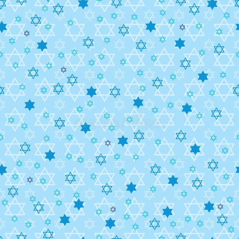 Modello senza cuciture di simmetria pastello blu della stella di Chanukah illustrazione di stock