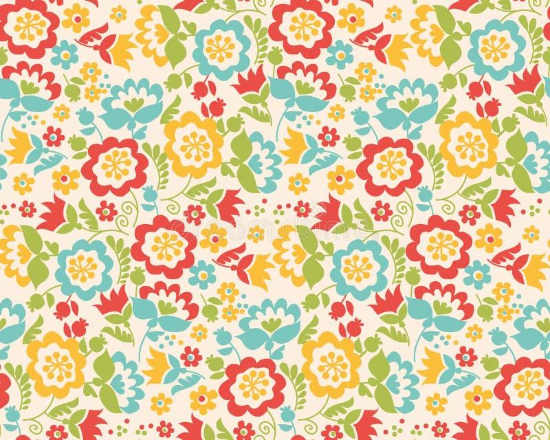 Modello senza cuciture di stile del fiore retro di estate illustrazione di stock