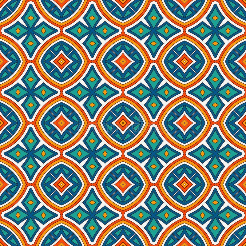 Modello senza cuciture di stile etnico con il motivo floreale Fondo astratto di colori luminosi d'annata Ornamento tribale immagine stock libera da diritti