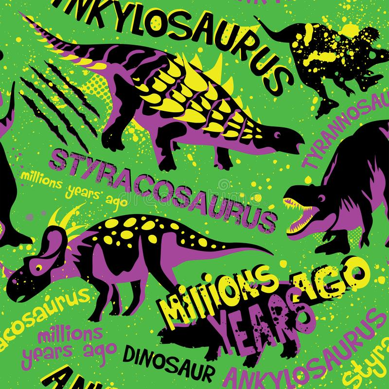 Modello senza cuciture di stile di lerciume con Dino su un fondo verde Fondo per le magliette, la carta, i tessuti ed il tessuto  illustrazione di stock