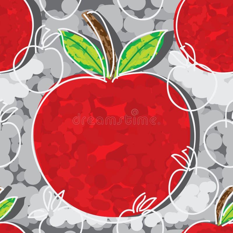 Modello senza cuciture di stile libero di Apple royalty illustrazione gratis