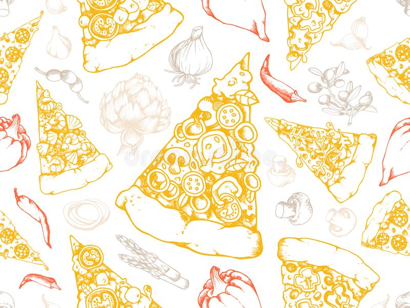 Modello senza cuciture di struttura della pizza di vettore illustrazione di stock