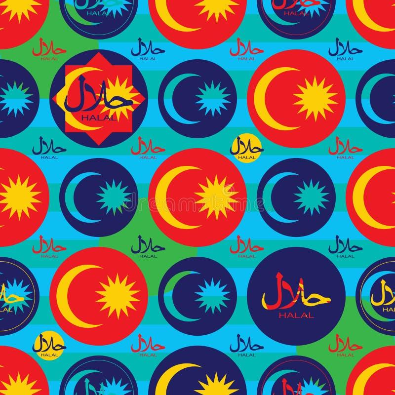 Modello senza cuciture di symmerty halal della bandiera della Malesia di Islam illustrazione di stock