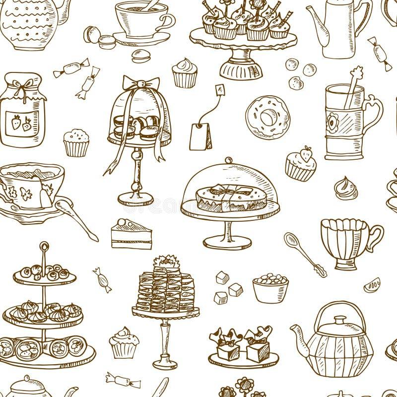 Modello senza cuciture di tempo del tè Disegnato a mano royalty illustrazione gratis