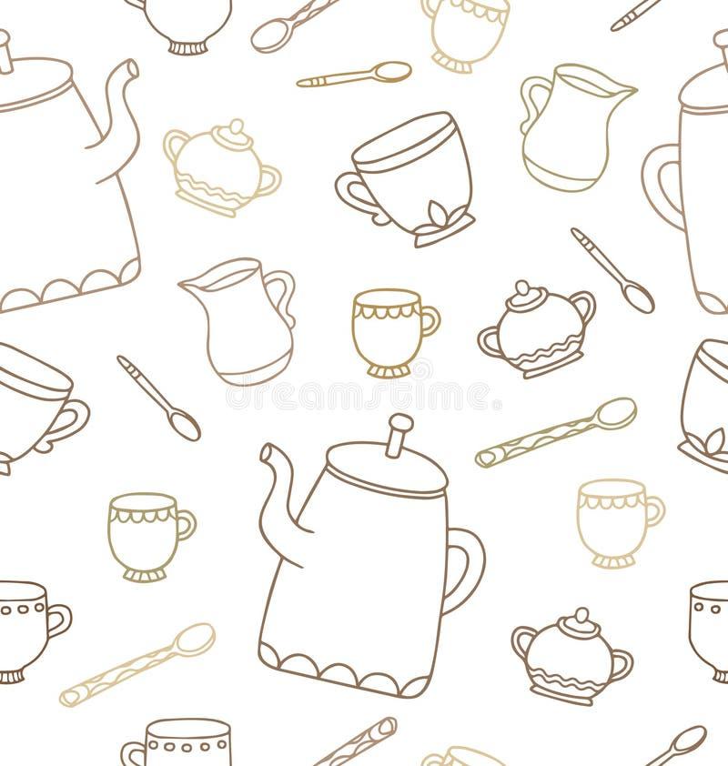 Modello senza cuciture di tempo del tè per progettazione Illustrazione di vettore illustrazione vettoriale