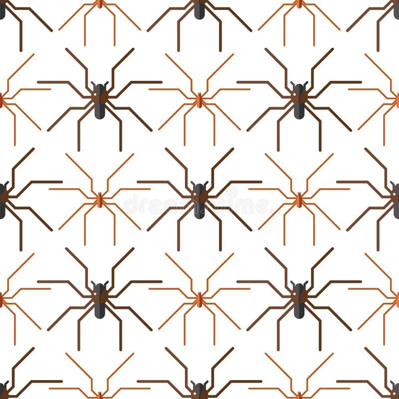 Modello senza cuciture di timore dell'aracnide della siluetta della ragnatela royalty illustrazione gratis