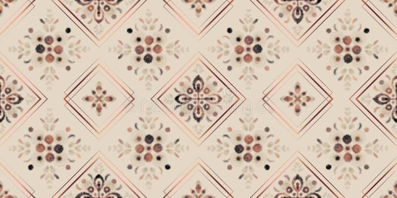 Modello senza cuciture di toni della terra, mosaico floreale dell'acquerello digitale con le strutture rosa del quadrato dell'oro illustrazione di stock