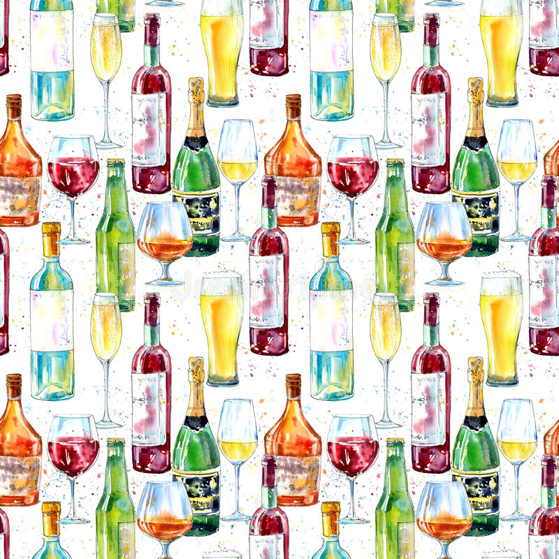 Modello senza cuciture di un champagne, di un cognac, di un vino, di una birra e di un vetro royalty illustrazione gratis