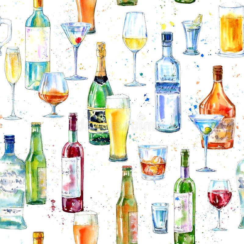 Modello senza cuciture di un champagne, di una vodka, di un cognac, di un vino, di una birra e di un vetro illustrazione vettoriale