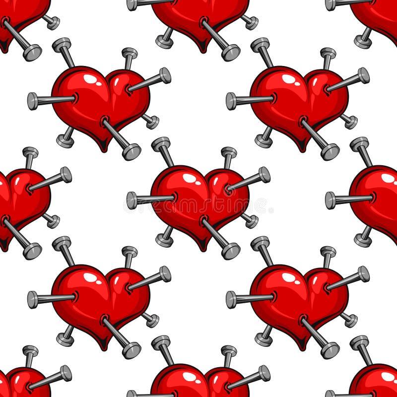Modello senza cuciture di un cuore fissato chiodo illustrazione vettoriale