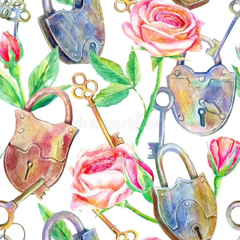 Modello senza cuciture di un lucchetto, di una chiave e delle rose Briar ed erbe illustrazione di stock