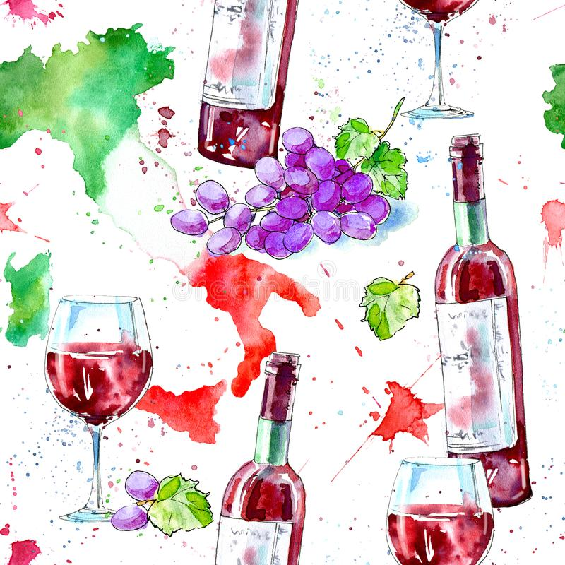 Modello senza cuciture di una bottiglia di vino rosso, di vetri, della mappa dell'Italia e dell'uva illustrazione vettoriale