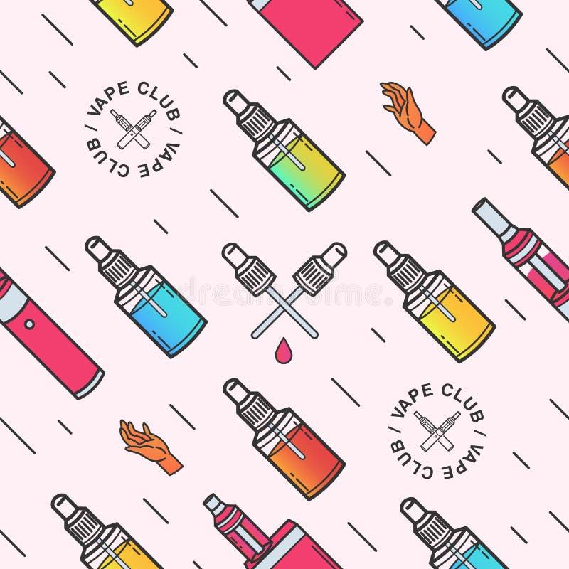 Modello senza cuciture di Vape Fondo con le e-sigarette illustrazione vettoriale