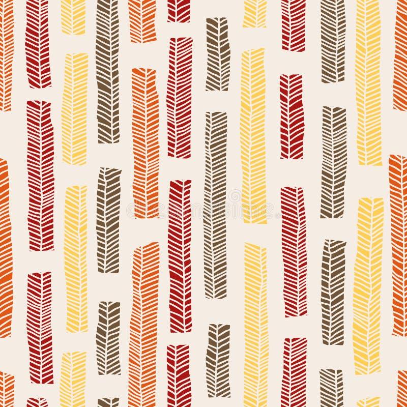 Modello senza cuciture di vettore aborigeno compreso le foglie multicolori enthnic come fondo o struttura illustrazione di stock