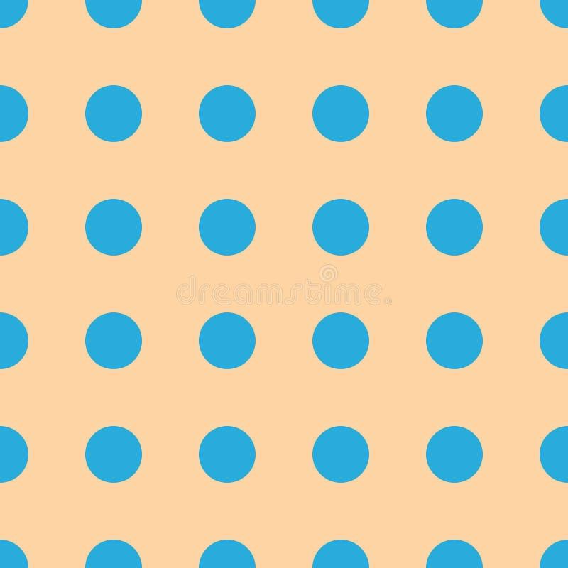 Modello senza cuciture di vettore beige leggero con i pois blu-chiaro Fondo d'annata di stile royalty illustrazione gratis