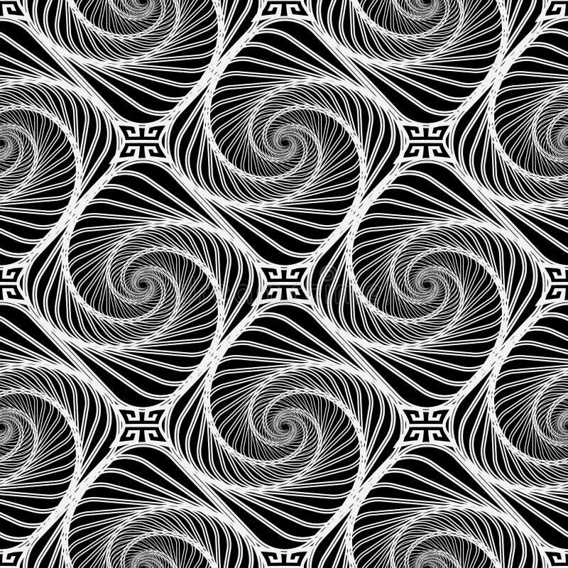 Modello senza cuciture di vettore in bianco e nero astratto a spirale royalty illustrazione gratis