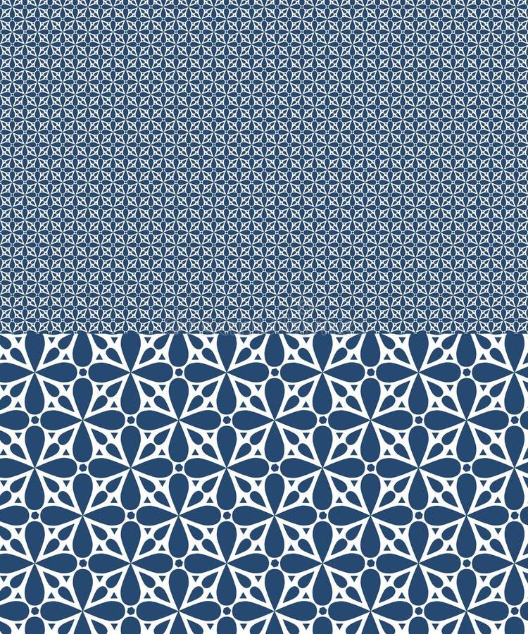 Modello senza cuciture di vettore blu ispirato da progettazione di azulejos illustrazione di stock