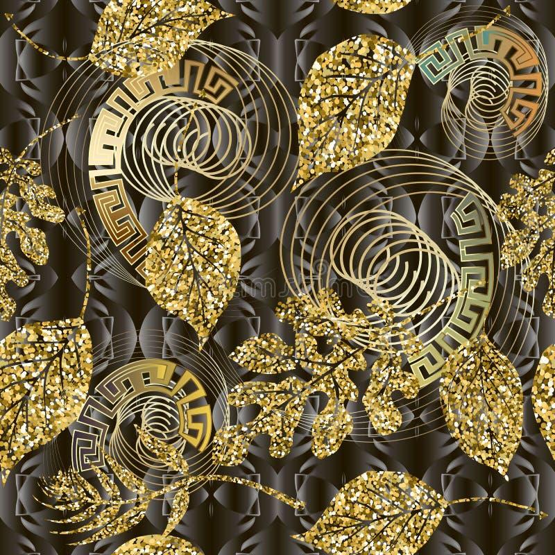 Modello senza cuciture di vettore brillante delle foglie dell'oro di scintillio Fondo frondoso strutturato moderno Ripeti il cont illustrazione vettoriale