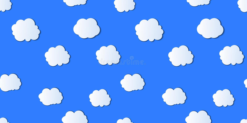 Modello senza cuciture di vettore, cielo nuvoloso, colore blu-chiaro luminoso illustrazione vettoriale