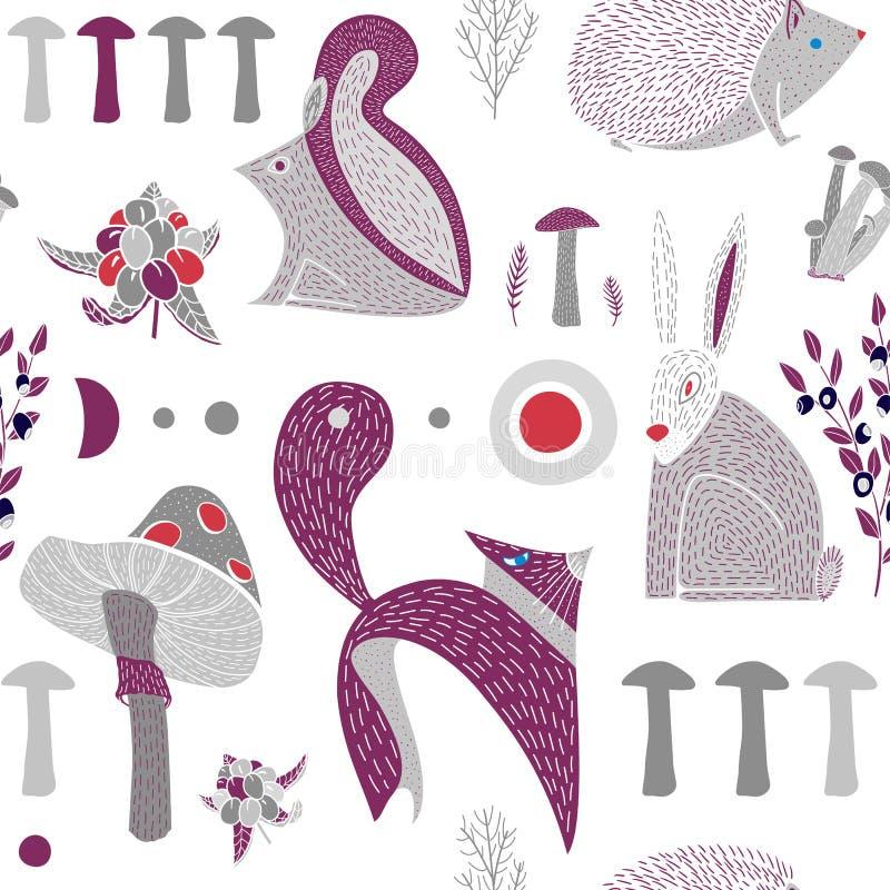 Modello senza cuciture di vettore con gli animali disegnati a mano svegli della foresta illustrazione vettoriale
