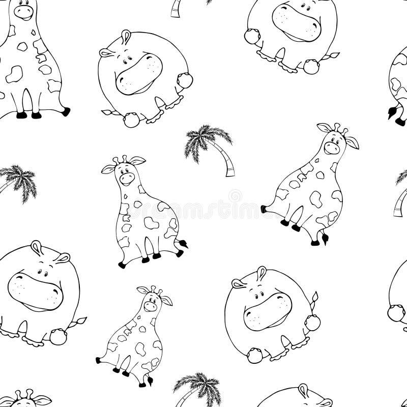 Modello senza cuciture di vettore con gli animali grassi svegli divertenti disegnati a mano Siluette degli animali su un fondo bi illustrazione di stock
