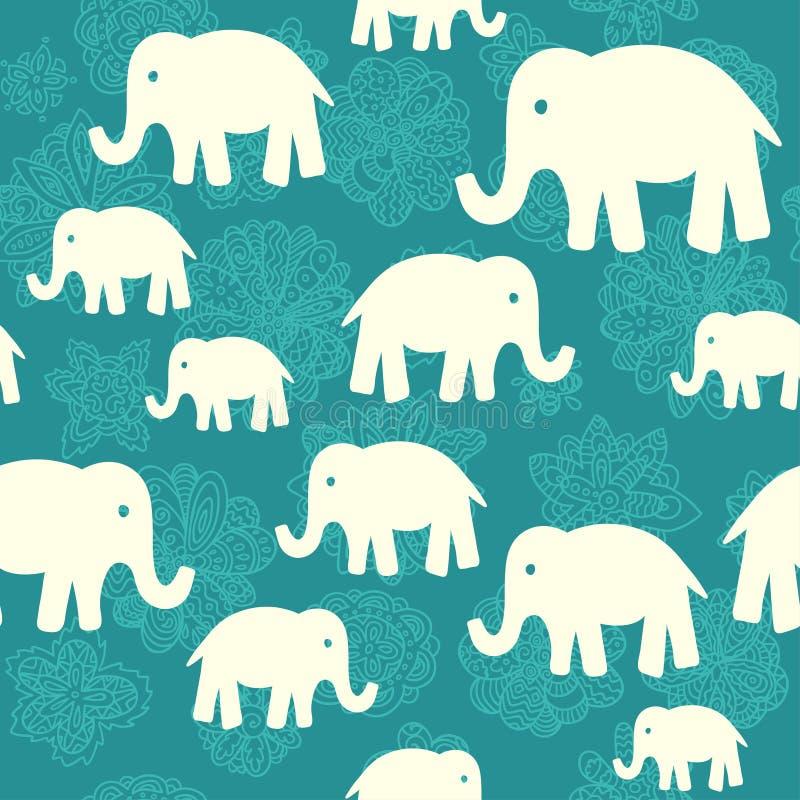 Modello senza cuciture di vettore con gli elefanti royalty illustrazione gratis