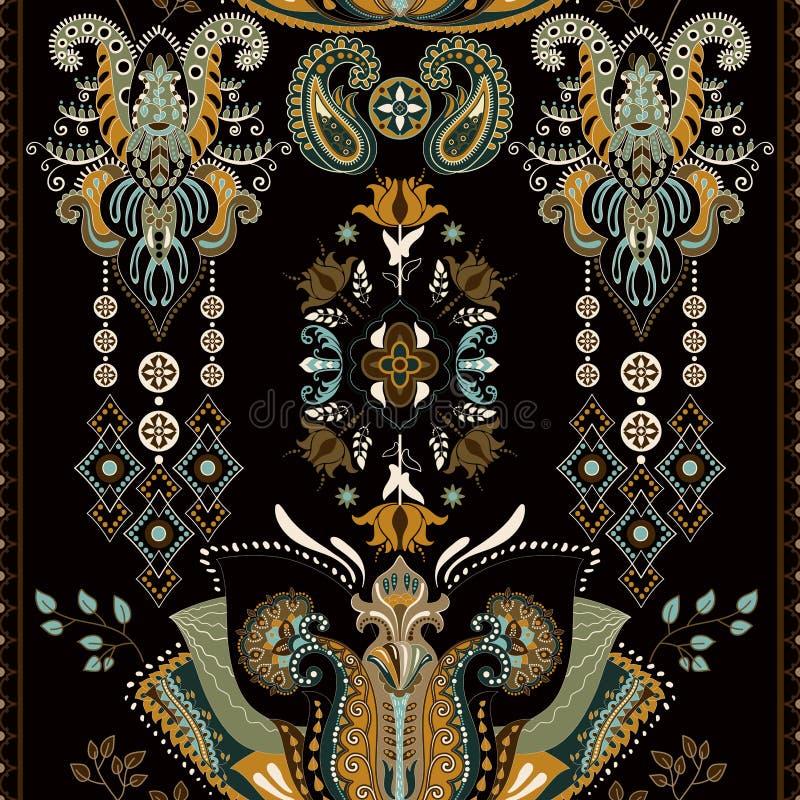 Modello senza cuciture di vettore con gli elementi etnici decorativi Ornamento indiano decorativo illustrazione di stock